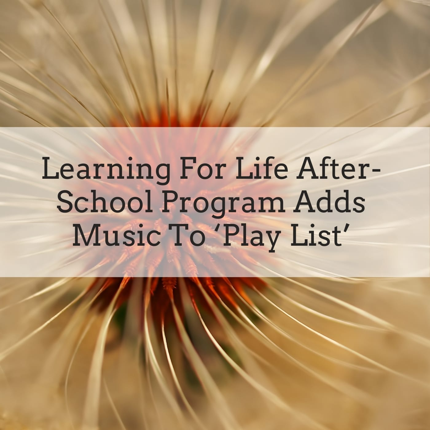 Learning For Life After School Program Adds Music To 'Play List'
