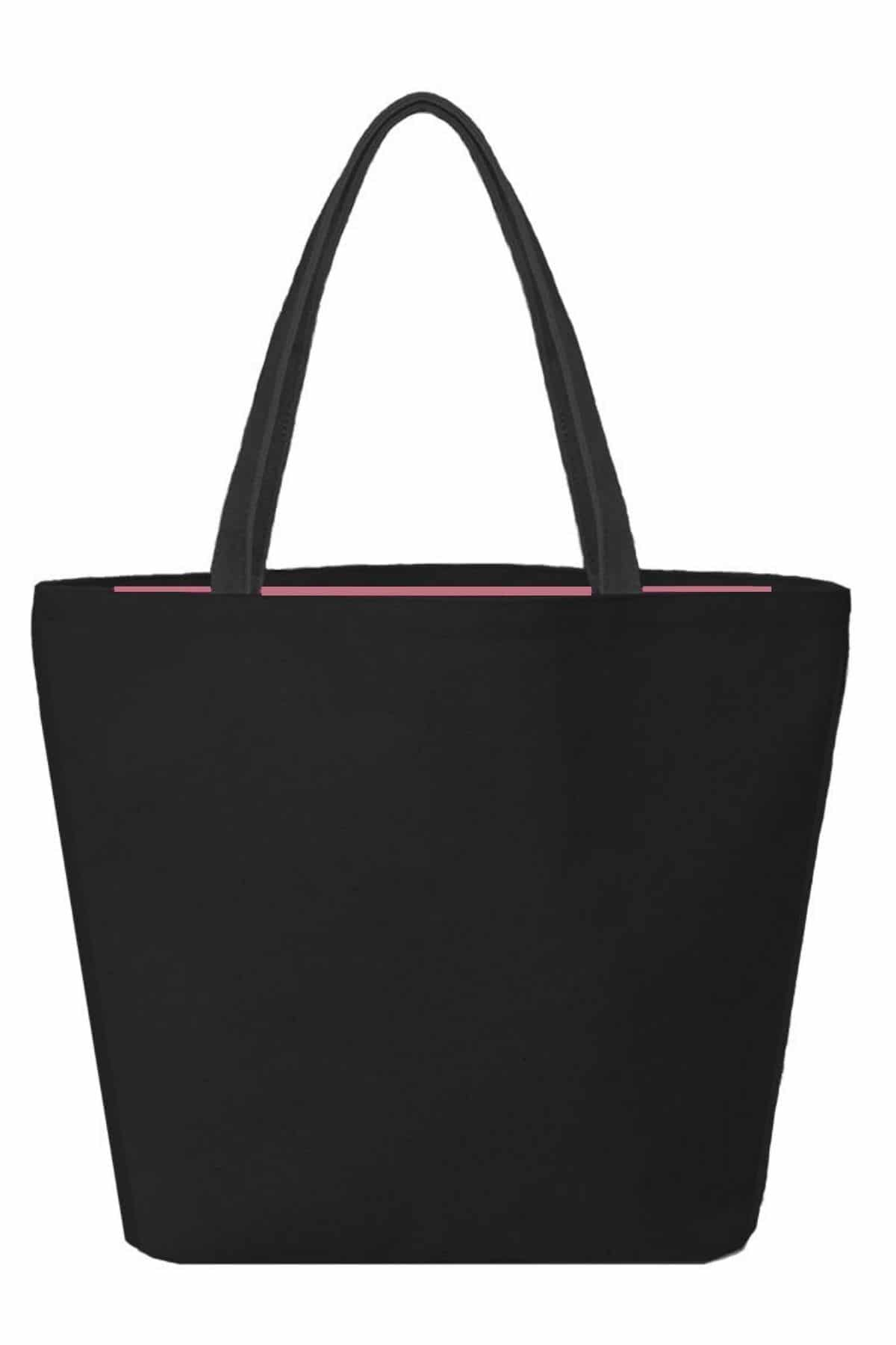 Star Heart tote bag black pink interior lining
