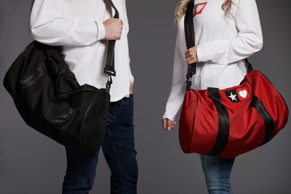 Star Heart Red Ballistic Nylon Duffel Bag with Embroidered Star Heart and Black Lining